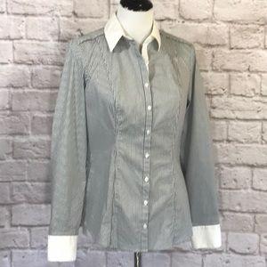 WHBM Black/white striped button-down shirt size 8
